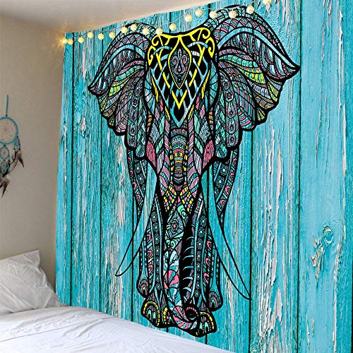 KHKJ Wooden mandala elephant printed tapestry background decorative cloth For home decoration A2 200x150cm