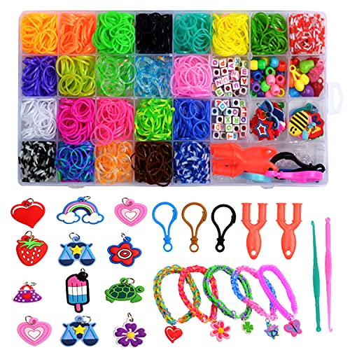 Teaffiddyy Colored Rubber Bands Bracelet Making Kit with Loom Bands Storage Container. Colorful Jewelry Making Kit Great Gifts for Girls and Boys