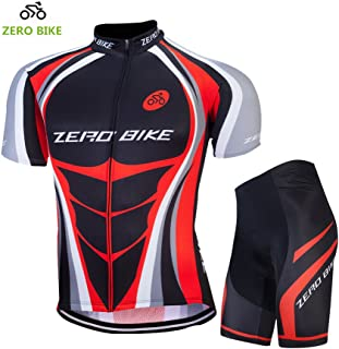 ZEROBIKE Men Breathable Quick Dry Comfortable Short Sleeve Jersey + Padded Shorts Cycling Clothing Set Cycling Wear Clothes