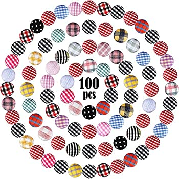 100 Pieces 15 mm/ 0.6 Inch Plaid Flatback Fabric Covered Buttons Decorative Buttons Embellishments Scrapbooking Craft for DIY Craft Decoration Earrings Supplies Kit  Mixed Style