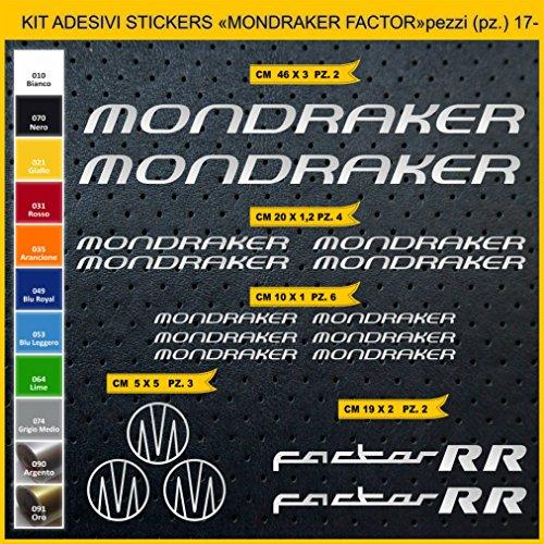 Pimastickerslab Aufkleber Fahrrad MONDRAKER FACTOR RR_ KIT2 Kit Aufkleber Stickers 17 Stück – bici Bike Cycle wählbar Cod.0882 (090 ARGENTO)