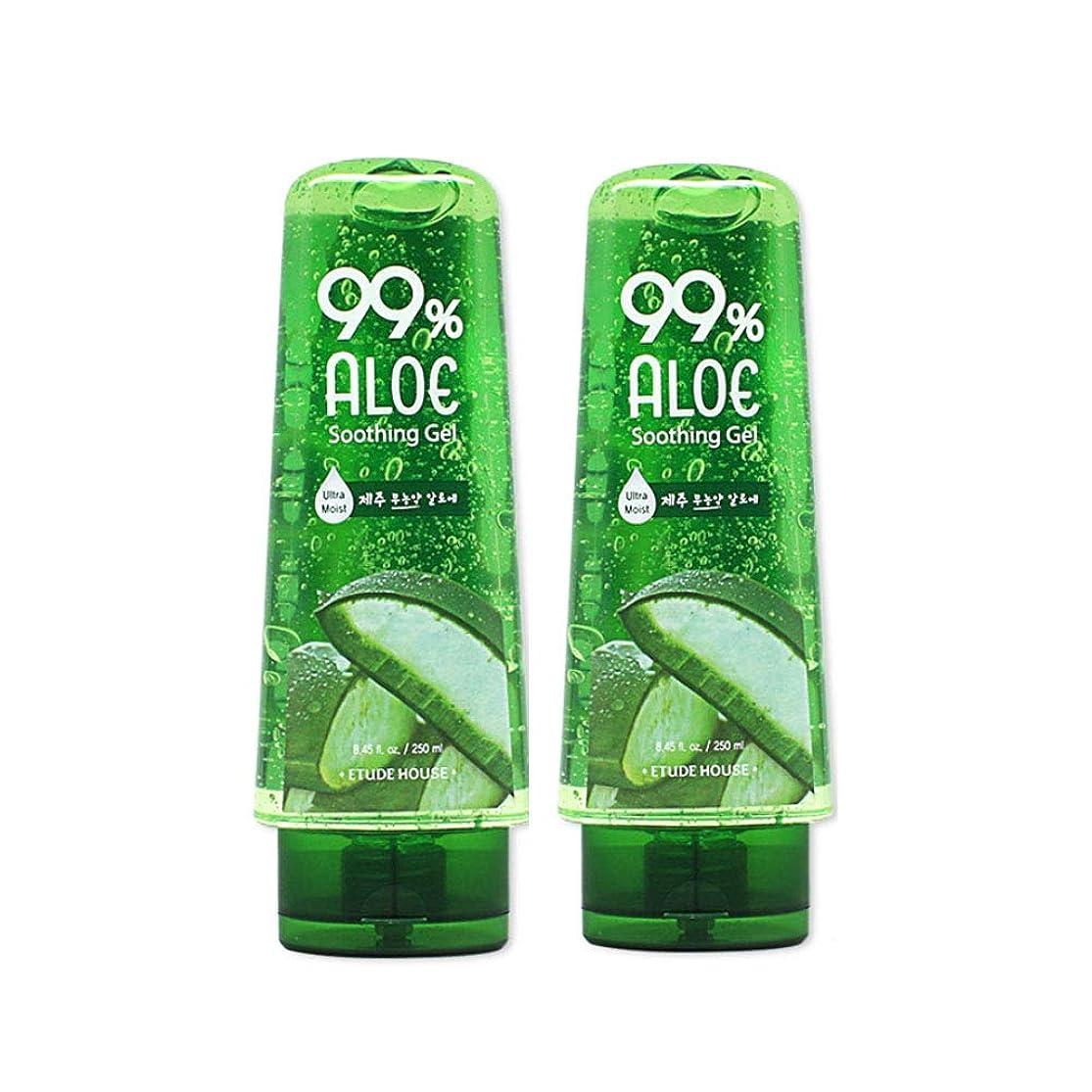 足音ヒットペンスエチュードハウス99%アロエスージングジェル250mlx2本セット韓国コスメ、Etude House 99% Aloe Soothing Gel 250ml x 2ea Set Korean Cosmetics [並行輸入品]