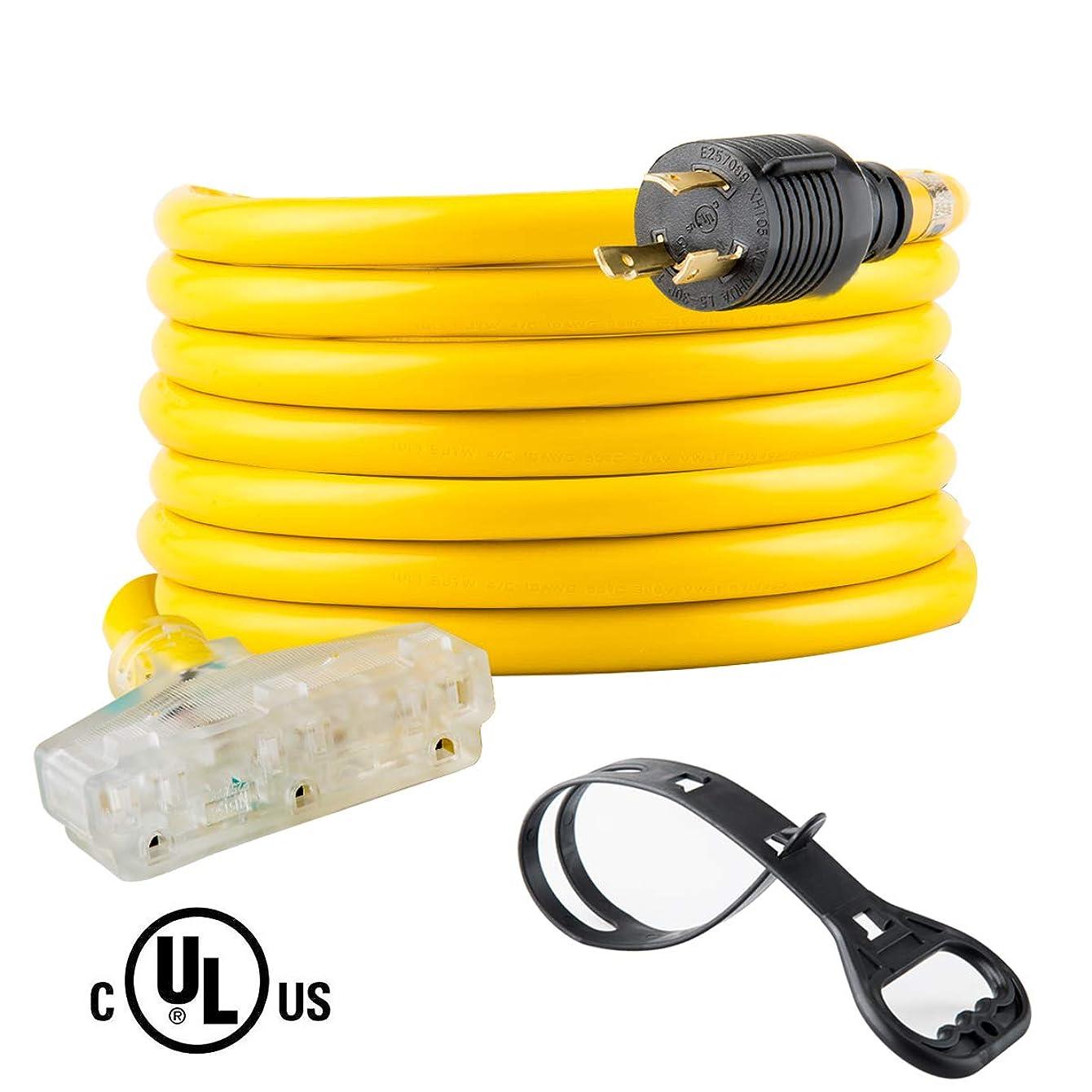 Yodotek 25 Feet Heavy Duty Generator Extension Cord,Generator Locking Cord,NEMA L5-30P/Three 5-15R, 3 Prong 10 Gauge Flexible Generator Cable, Generator Power Cord,30Amp 3750 Watts UL Listed