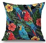 yting Ölgemälde Tropical Bunte Blumen Und Vögel Papageien Pflanze Baumwolle Dekorative Dekokissen...