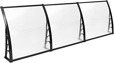 MCombo 38 inch x 116 inch Window Awning Outdoor Polycarbonate Door Shade Patio Cover Canopy, 6055-4012BK