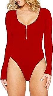 Womens Sexy Long Sleeve Scoop Neck Zip Up Front Shapewear Bodysuit Rompers