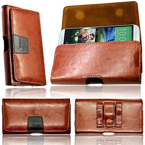 Gorilla Tech Lenovo K5, Lenovo K5 play, Lenovo K5 Pro, Lenovo K9, Lenovo S5, S5 Pro, S5 Pro GT Brown Leather Holster Case Secure Two Loops, Twin Magnet Flip Microfiber Interior Belp Pouch Cover