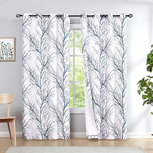 """Fmfunctex Blackout Blue White Tree Curtains for Bedroom 96 inches Long Thermal Insulated Blue and Grey Branch Light Blocking Window Treatment Set for Living Room 50""""W 1Panel Grommet Top"""