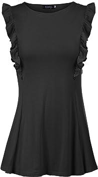 FISOUL Womens Casual Ruffle Sleeve Tunic