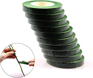 10 Rolls Floral Tape Stem Wrap Green Tape for Bouquet Stem Wrap Floral Arranging Craft Projects Corsages 1/2