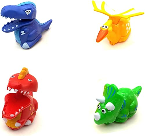 TUMTUM Unbreakable Colorful Press and Go Pull Mini Fast Moving Dinosaur Friction Powered Toys Best Gift Funny Toys Set for Kids Baby Boys Girls DIANOSOUR Set of 4