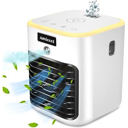 Climatiseur Portable, Climatiseur Mobile, Refroidisseur d'air, 4 en 1 humidificateur d'air, 3 Vitesses et,Avec lumière LED,utilisé dans Le Bureau,la Chambre à Coucher Le Salon Camping