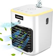 Mini Aire Acondicionado Portátil, Mini Enfriador Portátil USB Aire Acondicionado 4 en 1 Ventilador Purificador Humidificador para Hogar Oficina, LED de, 3 Velocidades Ajustable