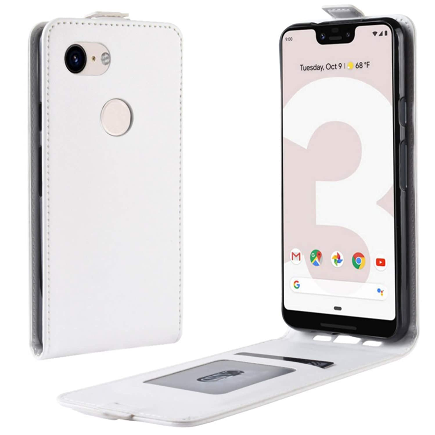 HualuBro Google Pixel 3a XL Case, Premium PU Leather Wallet Flip Folio Shockproof Phone Case Cover with [Card Slots] [Magnetic Closure] for Google Pixel 3a XL 2019 (White)