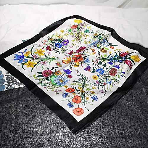Zijde Women'S Sjaal Sjaal Vierkant Mode Zakdoek Zwarte Bloem Vintage Elegante Temperament Eenvoudige Ademende Dun