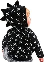 Infant Toddler Baby Hoodie Shirts Cute Dinosaur Cross Pattern Kids Zipper Black Tops