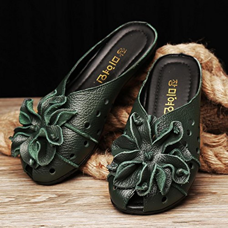 AWXJX Sommer- Frauen Flip Flops Kunstleder Baotou weichen Boden Casual Flachbild Komfortable Blaumen