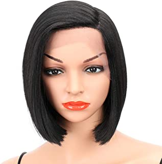 Eliza Short Bob Wigs L Part Lace Front Wigs with Baby Hair Heat Resistant Synthetic Wigs For Black Women Half Hand Tied 130% Density Ombre Blonde Wigs with Dark Roots (Natural black)