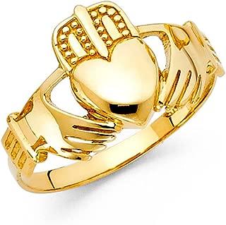 14K Gold Mens Celtic Claddagh Friendship Ring