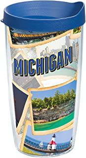 Tervis 1236698 Michigan Collage Tumbler with Wrap and Blue Lid 16oz, Clear
