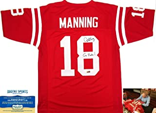 Archie Manning Autographed/Signed Ole Miss Throwback Red Custom Collegiate Jersey with