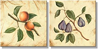 Wieco Art Fruit for Kitchen Decor 2 Piece Giclee Canvas Prints Wall Art By Flowers and Trees Oil Paintings Style Pictures for Bedroom Home Decorations Modern Stretched and Framed Grace Artwork