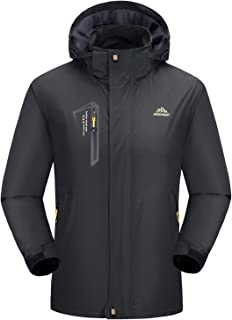 Rdruko Men's Jacket with Hood Waterproof Windproof Casual Outdoor Softshell Raincoat Sportswear