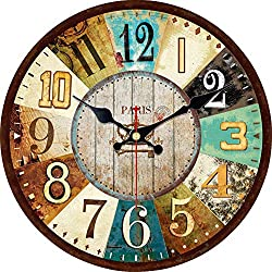 ShuaXin Wooden Decorative Tuscan Style 12 Inch Wall Clocks,Creative Colorful Large Arabic Numerals Rustic Country Classic Antique Battery Wall Clock