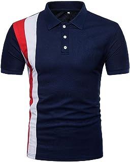 GREFER Men's 2018 Casual Slim Patchwork Button Short Sleeve T Shirt Top Blouse
