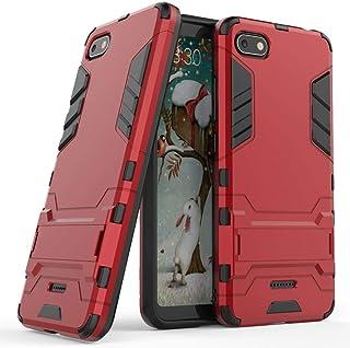 MaiJin Funda para Xiaomi Redmi 6A (5,45 Pulgadas) 2 en 1 Híbrida Rugged Armor Case Choque Absorción Protección Dual Layer Bumper Carcasa con Pata de Cabra (Rojo)