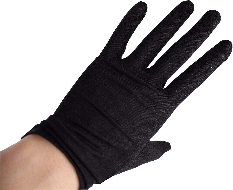 DooWay Women Fashion Short Wrist Long 100% Silk Nature Stretchy Satin Gloves Black UV Sun Protect TECH Touchscreen