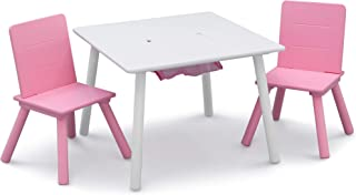 Delta Children Kids Table & Chair Set with Storage (2 Chairs Included), White/Pink