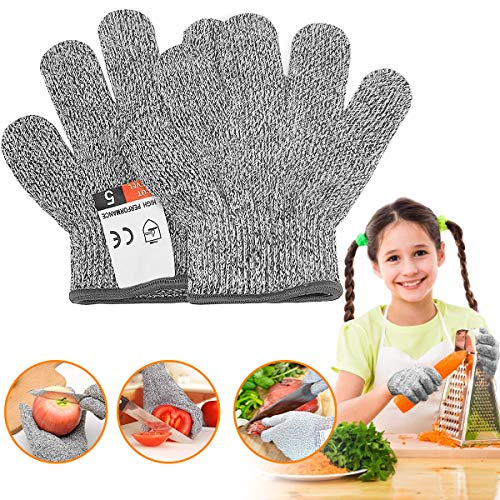 Alintor Schnitzhandschuh Kinder, Schnittschutzhandschuhe Kinder mit Stufe 5 Schutz, Schnittfeste Handschuhe - schnitzmesser Kinder, Lebensmittelecht, EN 388 Zertifiziert, Geeignet für 5-8 Jährige