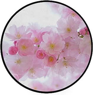 Carpet Japanese Cherry Trees Non Kitchen Round Area Rug Home Decor Soft Living Room Bedroom Floor Mat