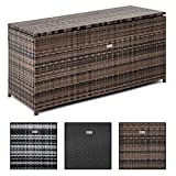 ESTEXO Rattan Auflagenbox Box Polyrattan Gartenbox Kissenbox Gartentruhe Kiste Auflagen (Schwarz)