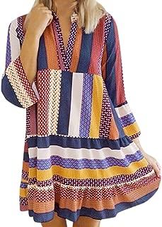 Vintage Loose Casual Boho Dress,Londony Women's Long Sleeve Floral Print Retro V Neck Tassel Bohemian Midi Dresses