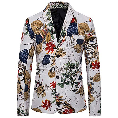 Mens Suit Jacket Floral Printed Two Button Casual Blazer Sports Coat (X40, Medium)
