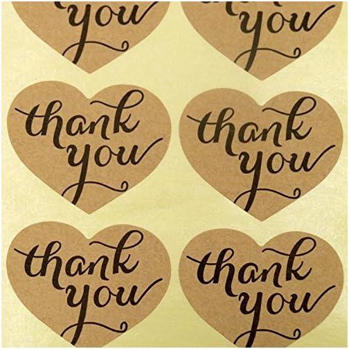 jijAcraft 150PCS Thank You Sticker Labels Heart Shape Kraft Paper Sticker Labels for Wedding Party Favor Thank You Card… |