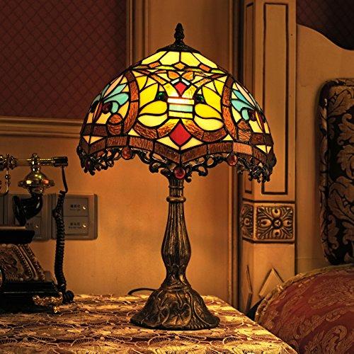 Tiffany 12 pollici vintage stile europeo fiore di vetro e perle Lampada da tavolo Lampada da comodino