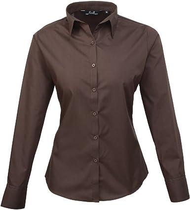 Premier Workwear PR300 para mujer negocio hospitalidad Barwear Manga Larga Popelina camisa marrón 18