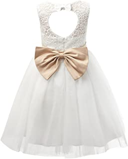 lace keyhole back flower girl dress