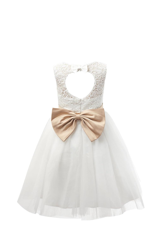 Miama 子供ドレス 結婚式 発表会 こどもワンピース ノースリーブワンピース フォーマル衣装 アイボリー