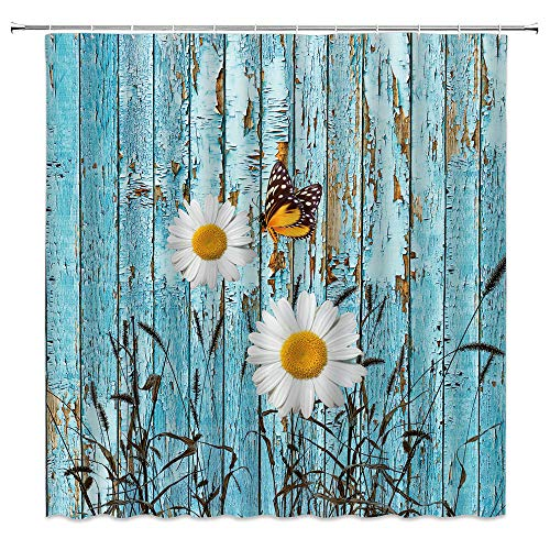 Xnichohe Farmhouse Shower Curtain Daisy Blue Retro Wood Foxtail Grass Butterfly Country Style Plant Polyester Cloth Fabric Bathroom Curtains Decor Set with 12 pcs Hooks,70 x70 Inches