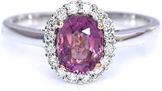 Natural Orange Pink Purple Sapphire and Diamonds Ring 1.52 cttw 14K White and Rose Gold New Size 7