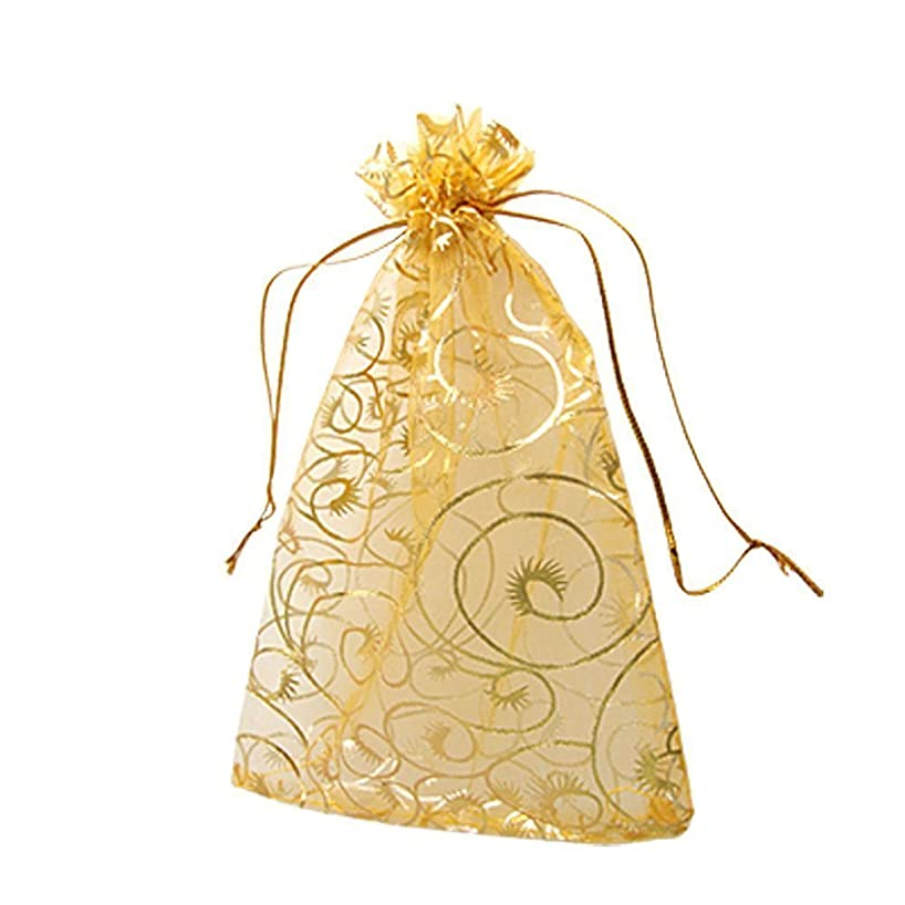 AKOAK 100pc 10 x 12 Cm /3.9 x 4.7 Inches Beautiful Gold Champagne Eyelash Organza Drawstring Pouches Candy Jewelry Party Wedding Favor Gift Bags Pouch Bags