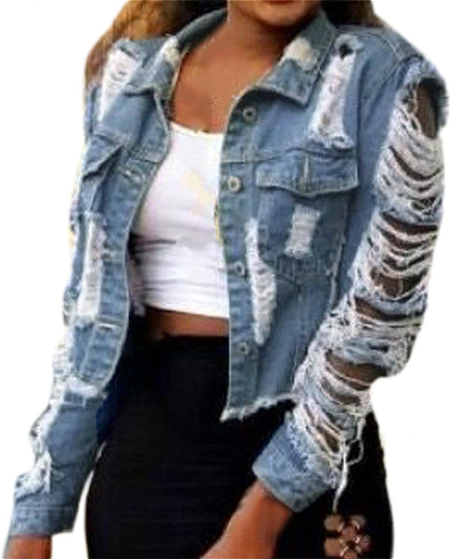 Kcocoo Jean Jacket for Women Long Puff Sleeve Distressed Crop Denim Jackets Top Basic Button Down Coat Classic Trucker Jacket