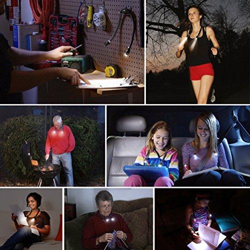 LEDGLEランニングライトネックライトハグライトハンズフリーライト首掛けライト夜間LED懐中電灯角度調整可能調光可能フラッド電球色USB充電スポット昼光色フレキシブルスポーツジョギングウォーキング散歩トレイルランニングUSBケーブル付きブラック+シルバー