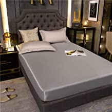 Deep Pocket Wrinkle,Washed Silk Solid Color Waterproof Bed Sheets, Non-Slip Protective Cover, Hotel Double Bed-Gray_120x200cm