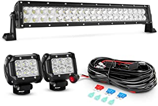 Nilight 4333221370 22Inch 120W Spot Flood Combo Led Light Bar 2PCS 4Inch 18W Flood LED Pods Fog Lights with 16AWG Wiring Harness Kit-2 Leads,2 Years Warranty