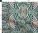 Spoonflower Stoff – Fliegen Kranich Vogel Grün Pink Art